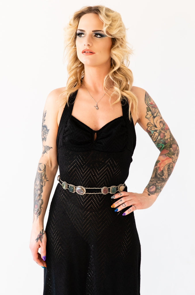 1970's Black Mini Crochet Maxi Dress