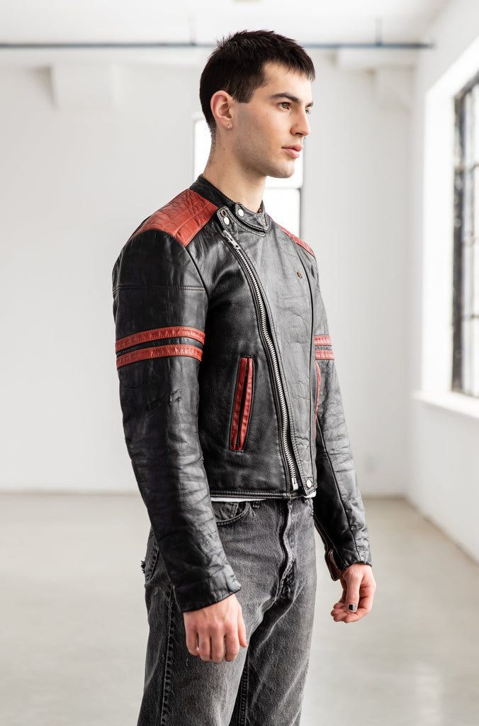 1970's Bristol Two Tones Black and Red Café Racer Leather Jacket