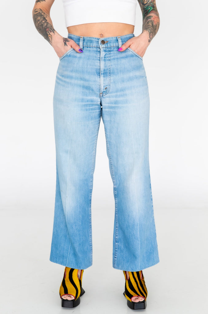 1970's Orange Tab Levi's Light Wash Flare Jeans