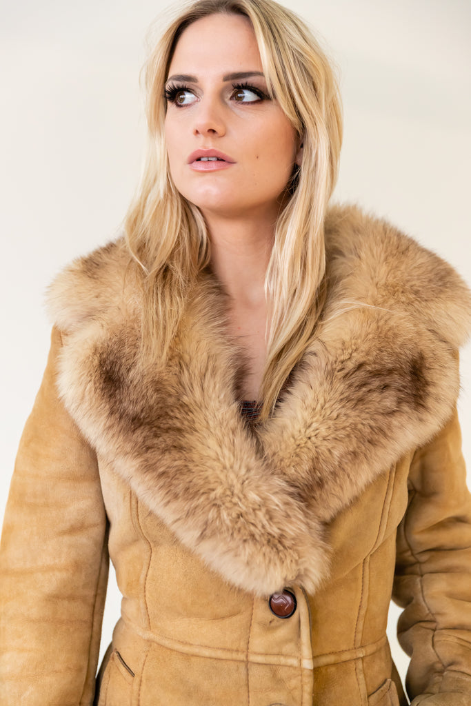 1970's Shearling Lined With Fur Collar Long Coat