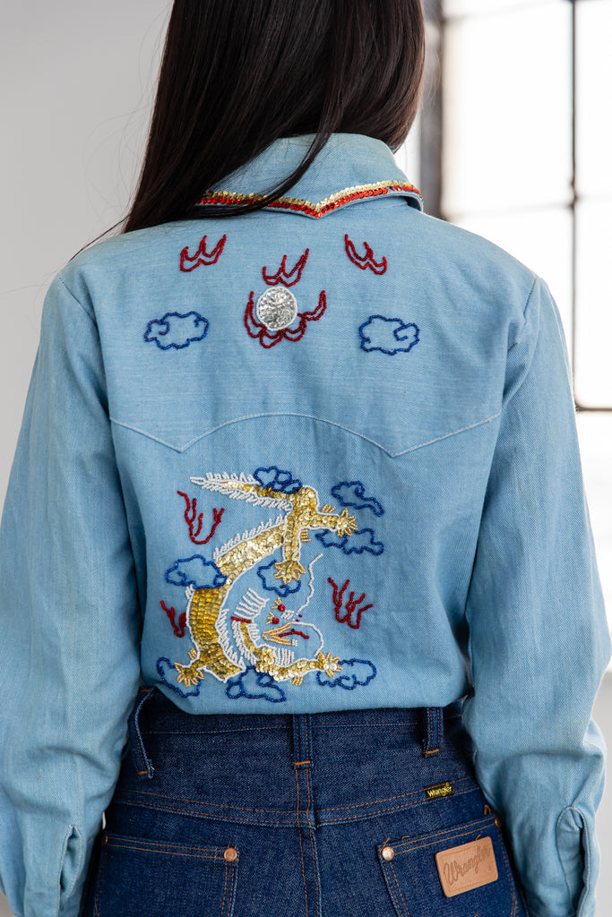 Vintage Western Sequin Embroidered Beaded Dragon Button Up Shirt By Genesis