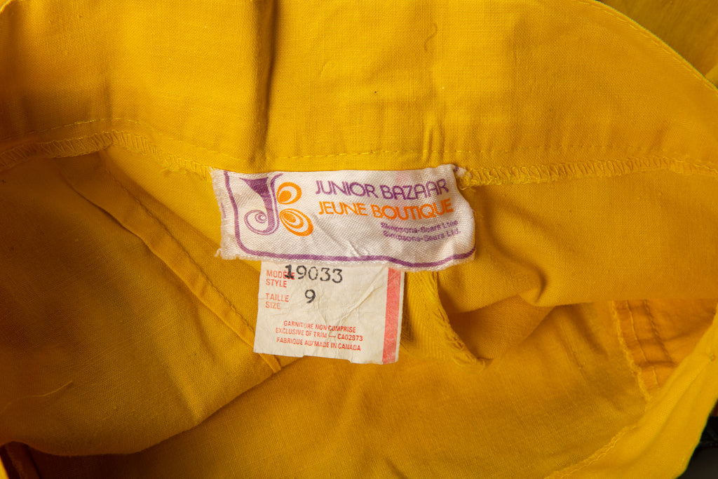 1970's Yellow High Waisted Mini Cotton Shorts with zippers on the sides By Junior Bazaar Sears