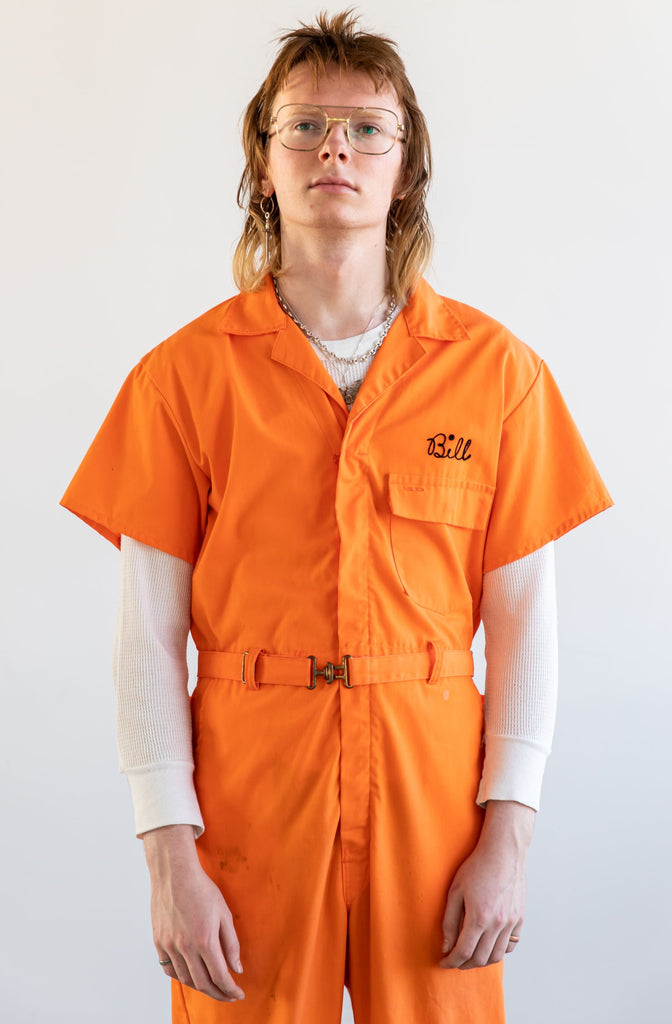 1970's, Chain Stitched Fire Dept. orange Coveralls
