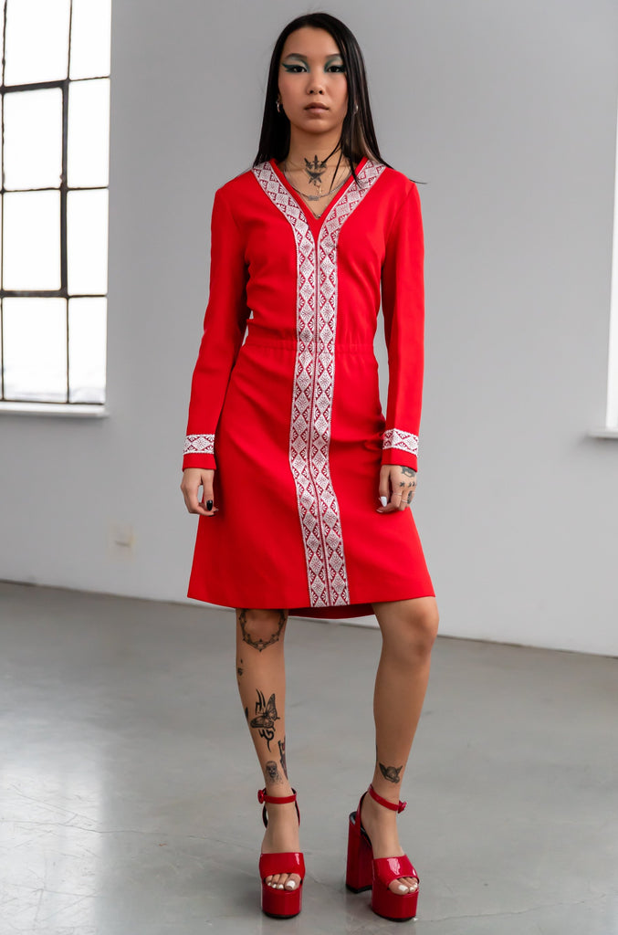 1970's Red Mod Dress With Silver Embroidery