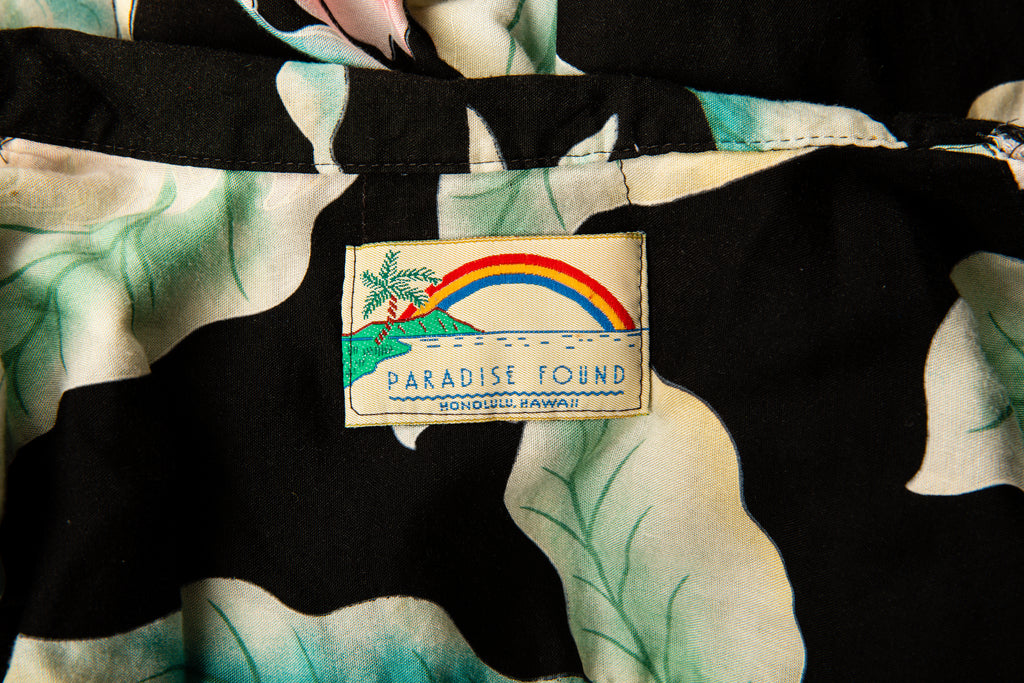1980's Authentic Hawaiian Shirt by Paradise Found Made In Honolulu Hawaii Button up Shirt