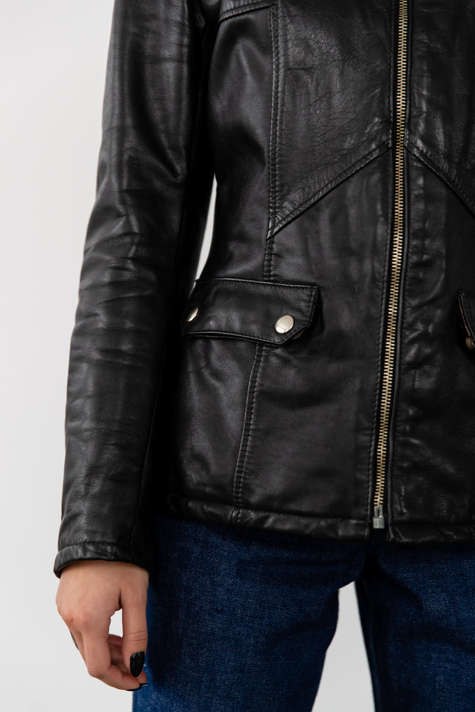 1980's Black Fitted Biker Leather Jacket