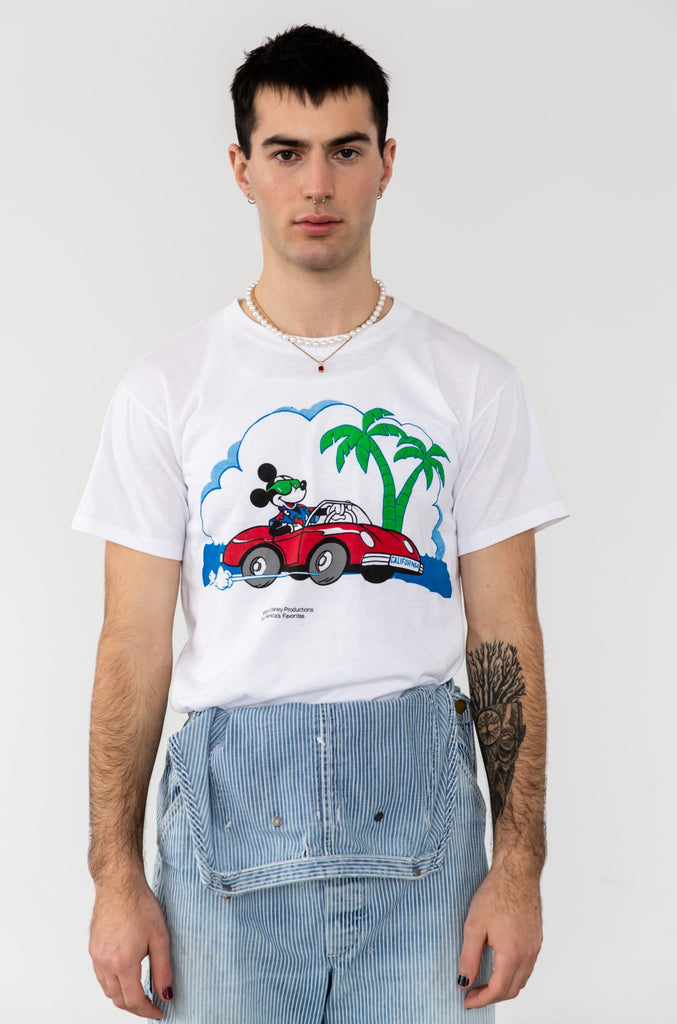 1980's Mickey Mouse Drivin Red Car in California T-shirt