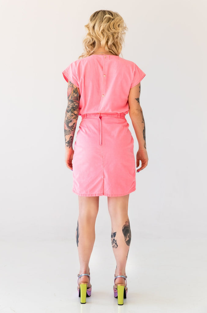 1980's Neon Pink Cotton Set : Top And Skirt