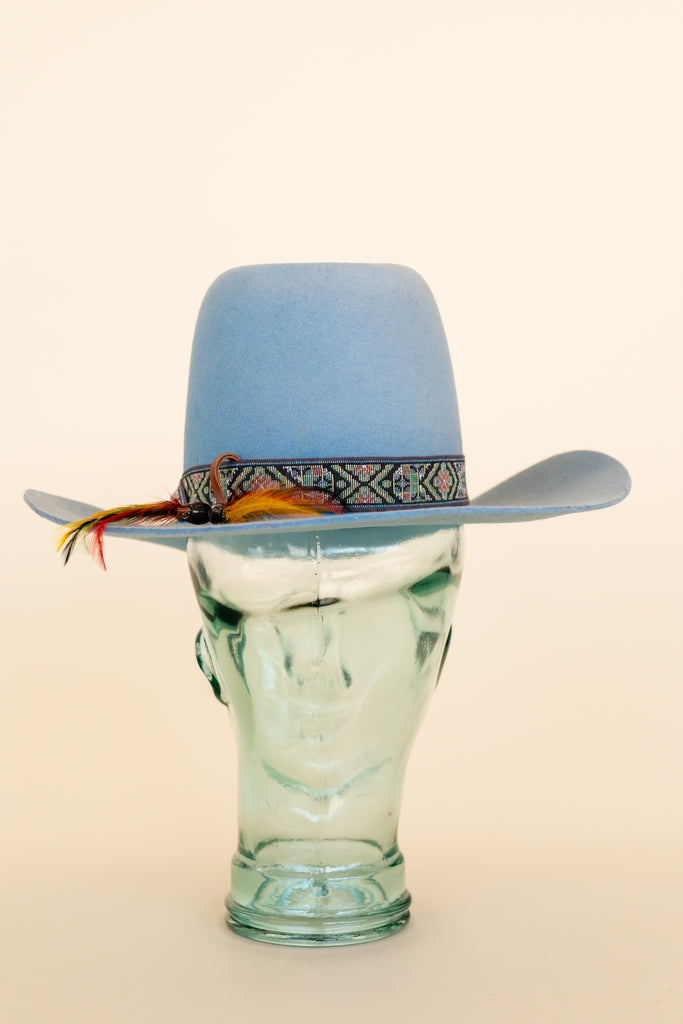 1980's Smith Bilts Cowboy Hat Baby Blue High Top 3 X Wool Felt With Lace Trims Outlaws Western Wear