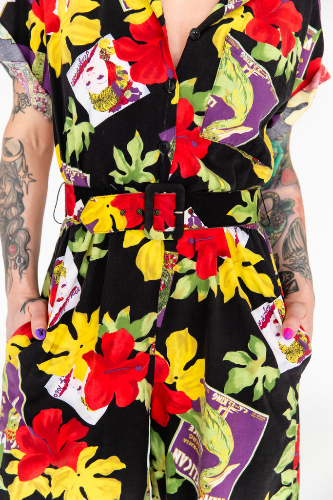 1980's Tropical Pin Up Cotton Romper