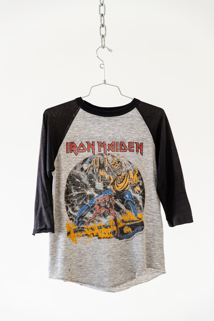 1982 IRON MAIDEN - THE NUMBER OF THE BEAST WORLD TOUR 1982-83 RAGLAN SHIRT