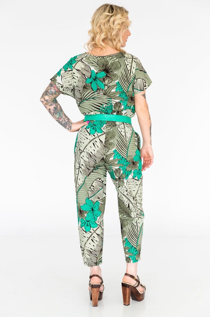 1980's Green Tropical Cotton Jumpsuit