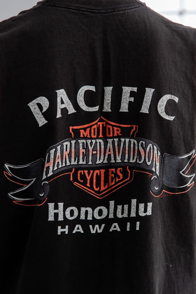 1987 Harley Davidson Real Men Wear Black Pacific Honolulu Hawaii Sleeveless Shirt