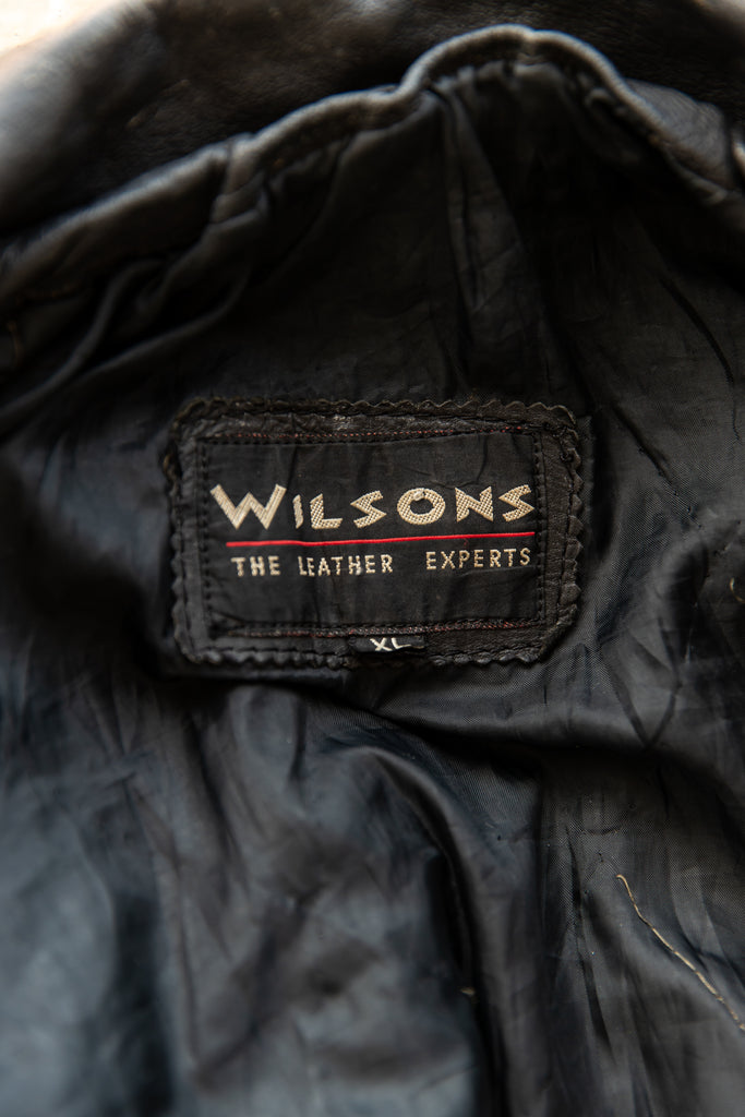 1990's Classic Black Leather Moto Jacket By Wilson's