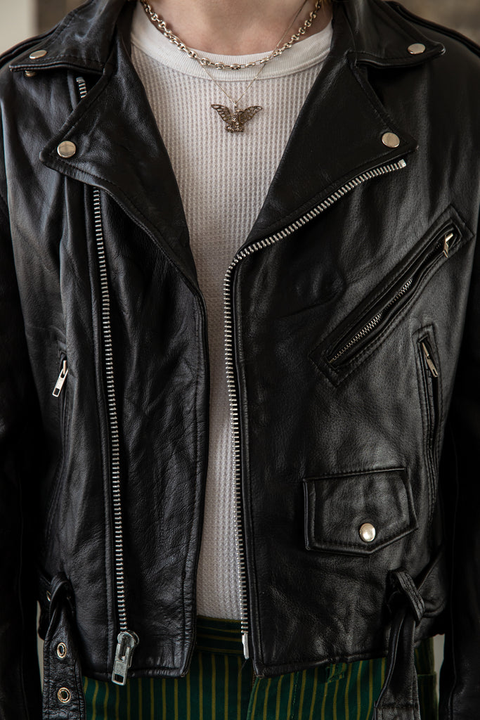 1990's First Genuine Leather Perfecto moto Biker Jacket (Men's Medium)