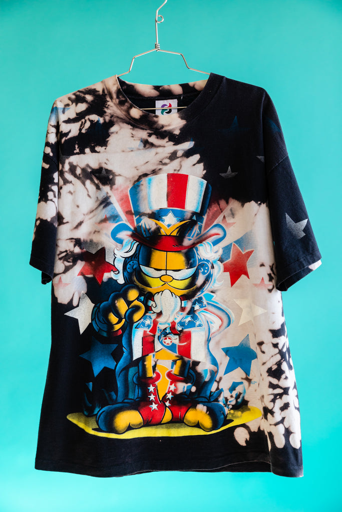 1990's Black Tie dye Garfield Mega Print Uncle Sam Stars Stripes America Jim Davis T-Shirt