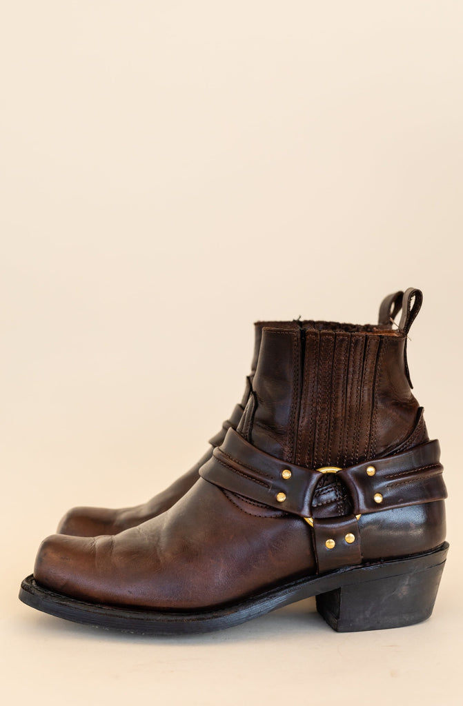 1990's Harness Brown Leather Low Cut Boots With Brass | (Men 7.5 3E)