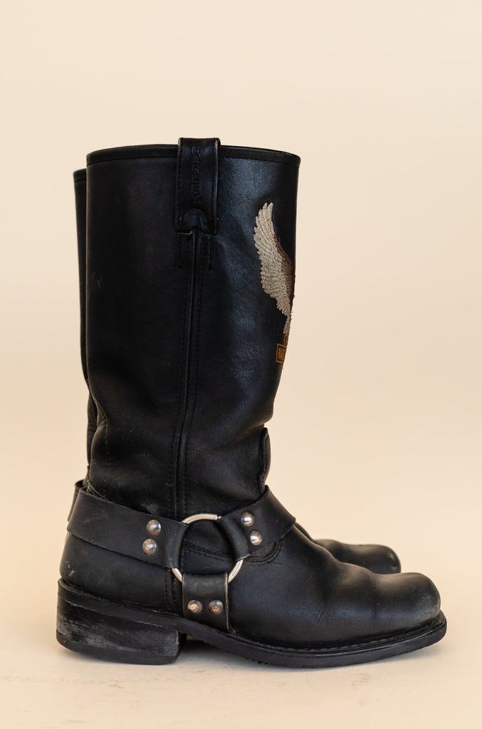 1990's Harley-Davidson Harness Boots with Eagle big logo (Women size 7)