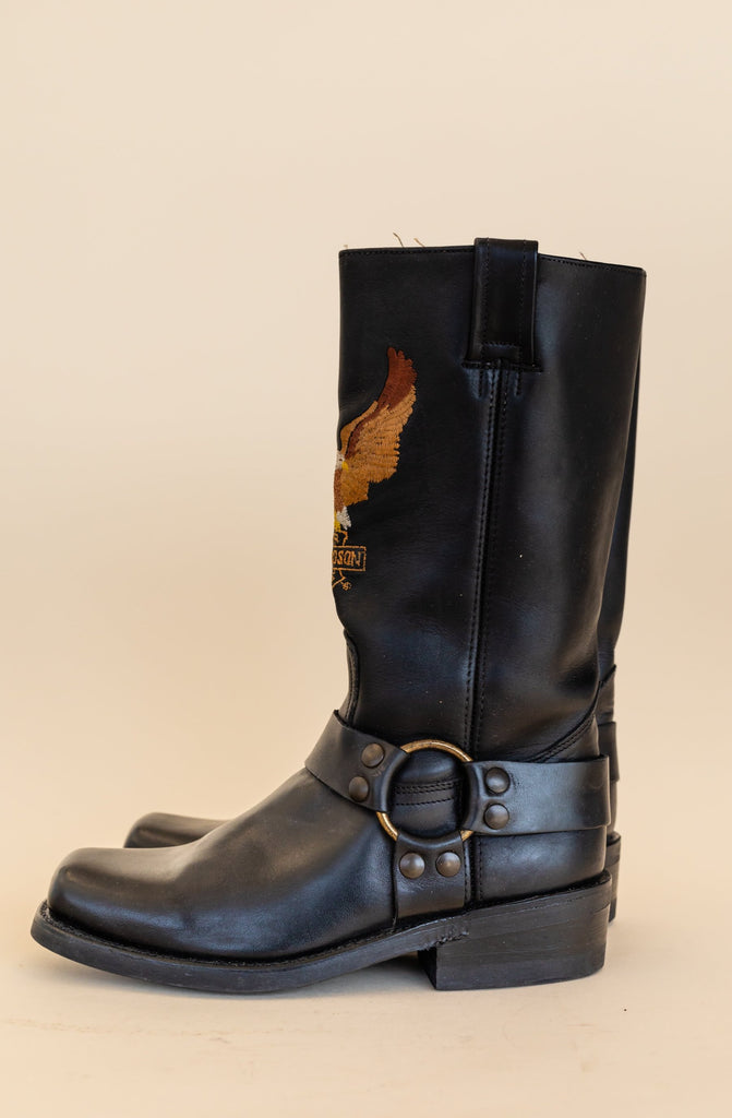 1990's Harley-Davidson Harness Leather Boots with Eagle big logo (size women 6)