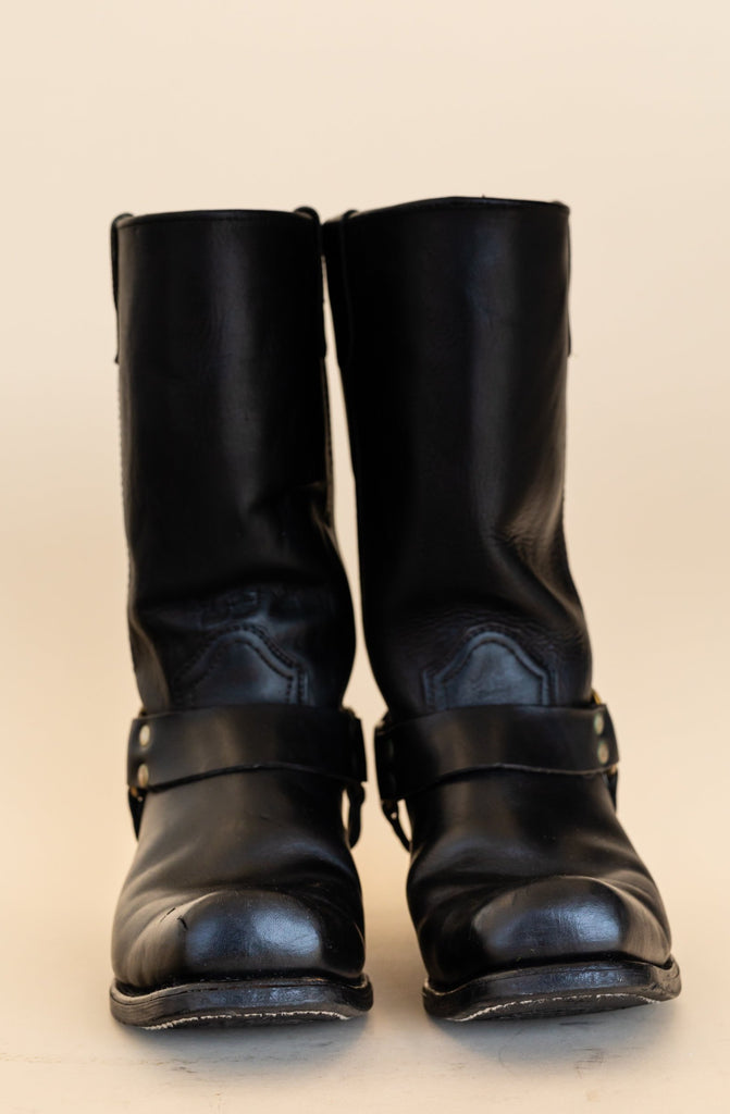 1990's Harness Biker Black Leather Boots with Brass | (size men 7.5)