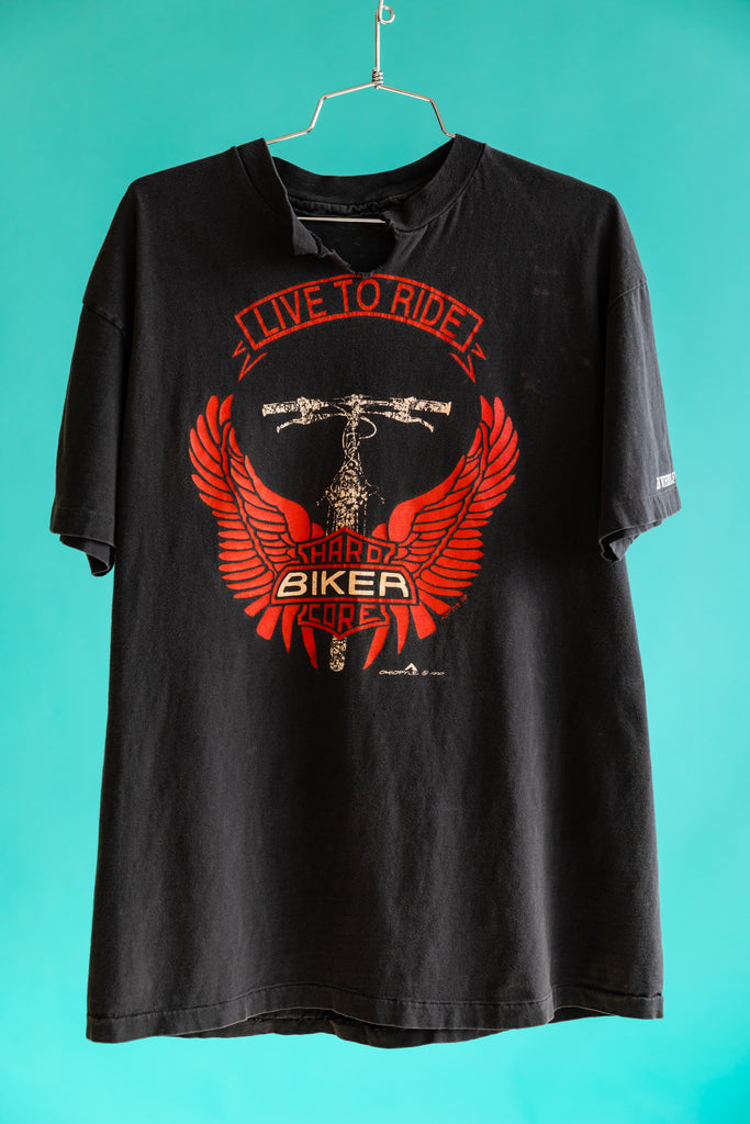 1990's Live To Ride Hardcore Biker Big Wheels bicycles T-shirt