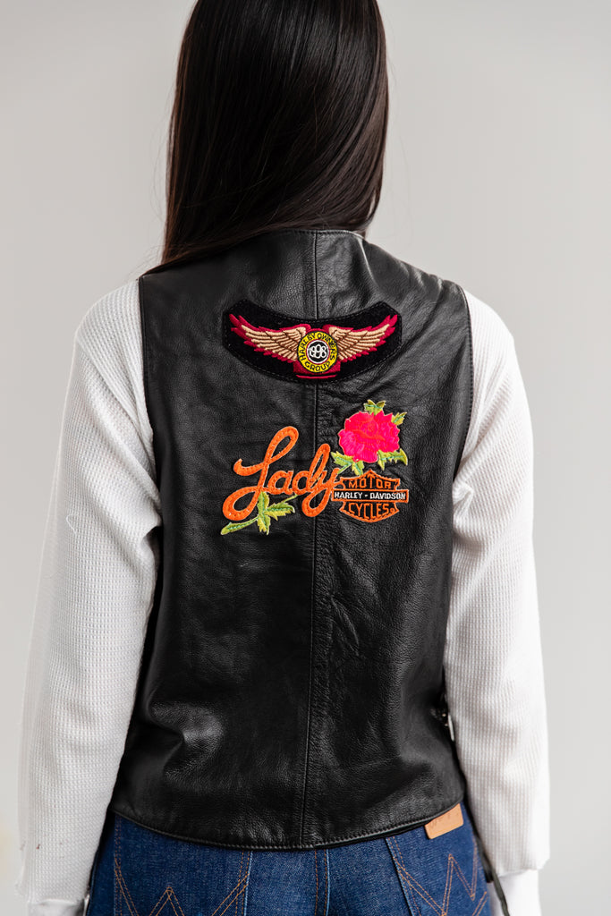 Vintage Biker Leather Vest - Ladies Of Harley