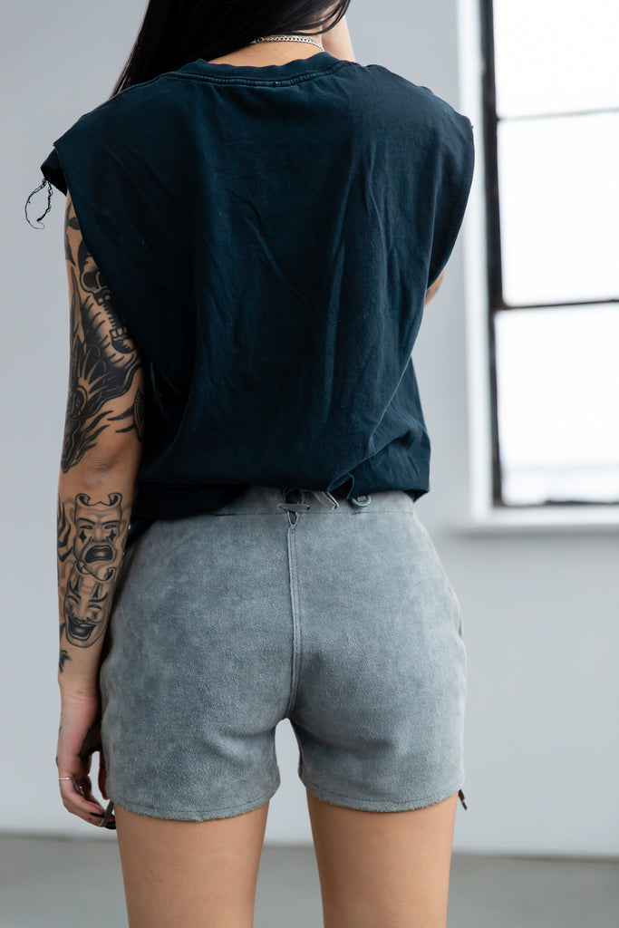 Vintage Grey Suede Swiss Shorts