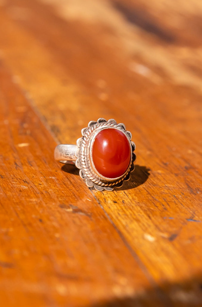 Vintage Sterling Silver Orange Brown Agate Gemstone Ring size 7