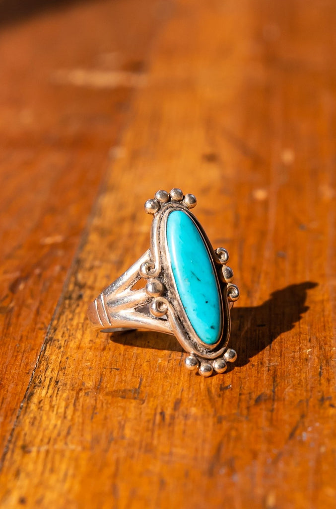 Vintage Turquoise Silver ring | navajo style ring | 925 silver | size 6