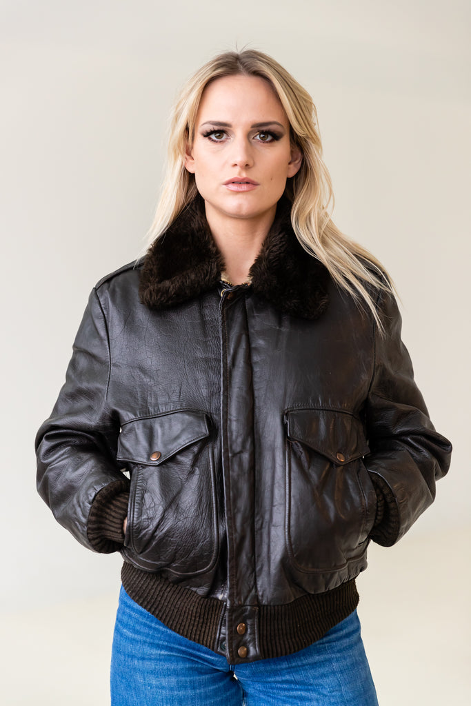 1970's G1 Flight Bomber Aviator Leather jacket with Shearling collar by William Barry