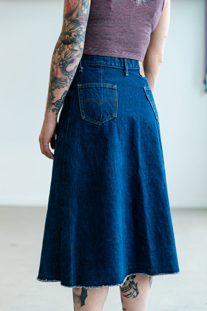 1970's LEVI'S ORANGE TAB BUTTON DENIM SKIRT