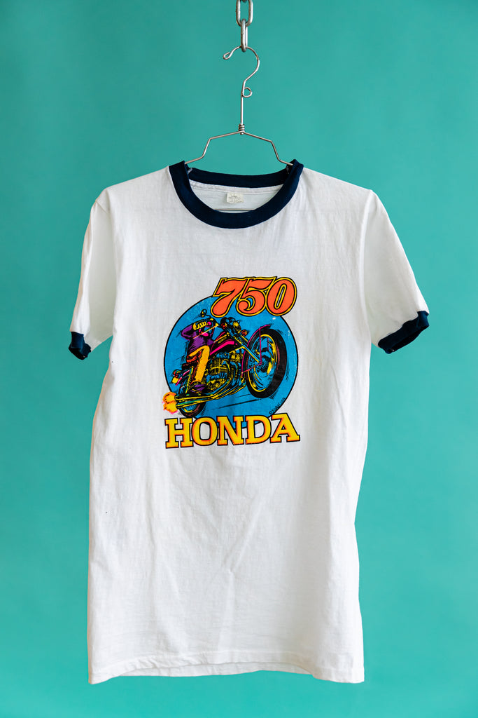 1974 HONDA 750 Iron On ROACH Design Ringer T-shirt