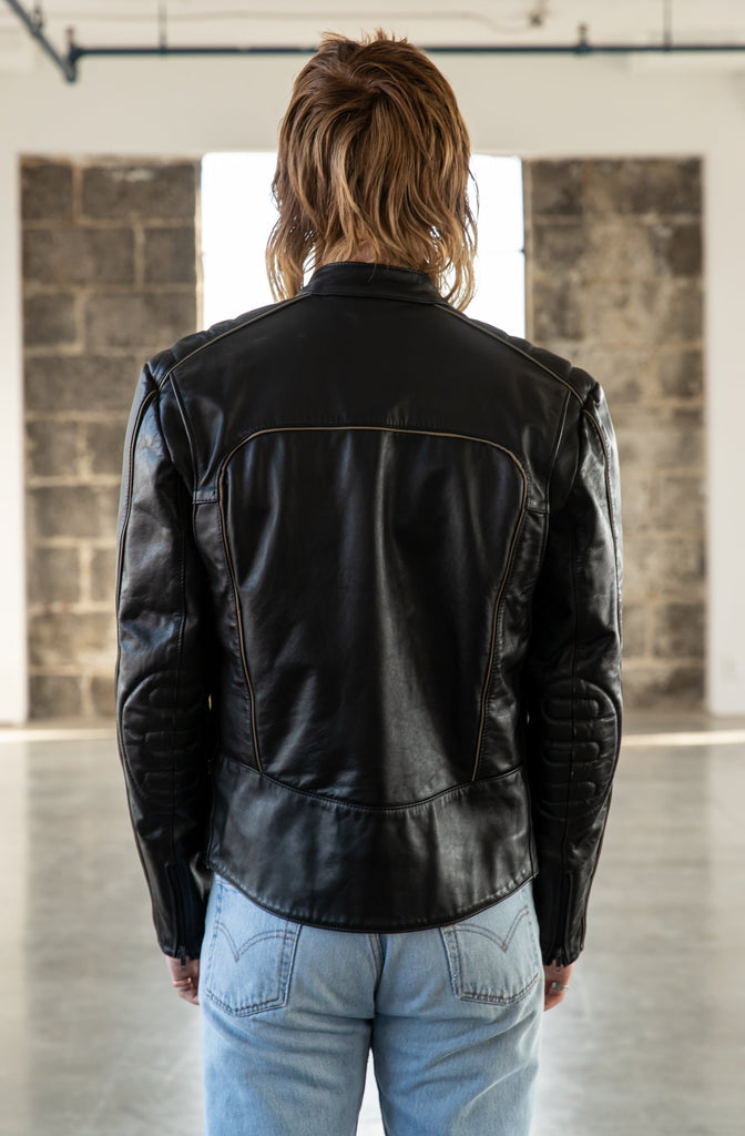 1980's SUZUKI Cafe Racer Leather Biker Jacket