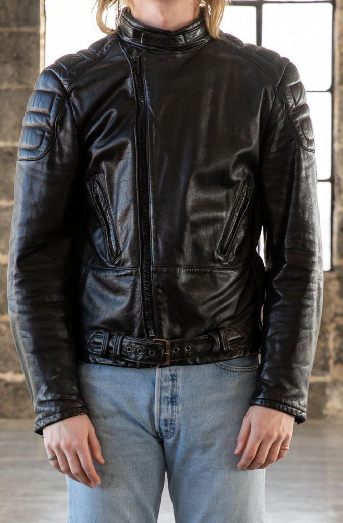 1980's Cafe Racer Biker Leather Jacket by Quebec Techno Mode