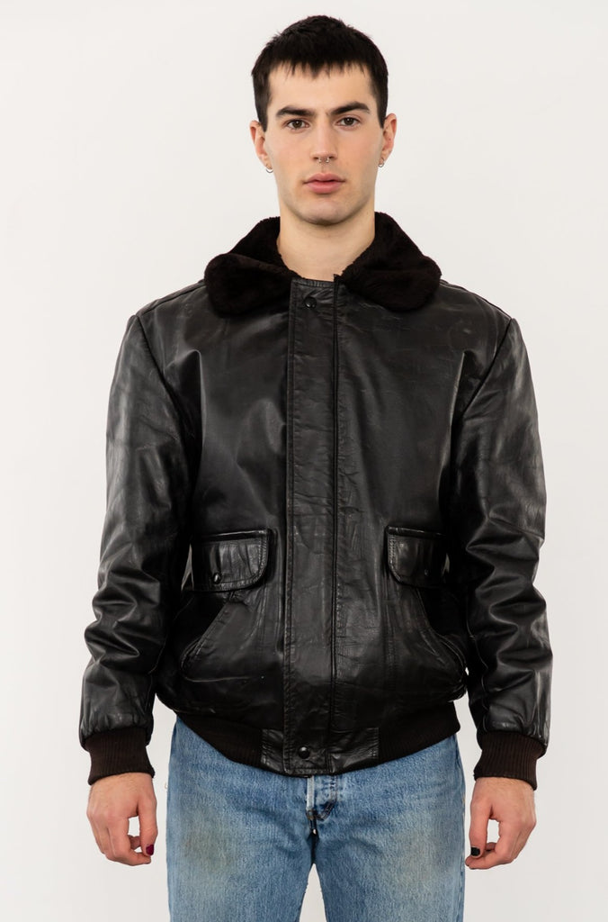 1980's G1 Flight Bomber Aviator Style Leather Jacket with Shearling Collar by Fiori