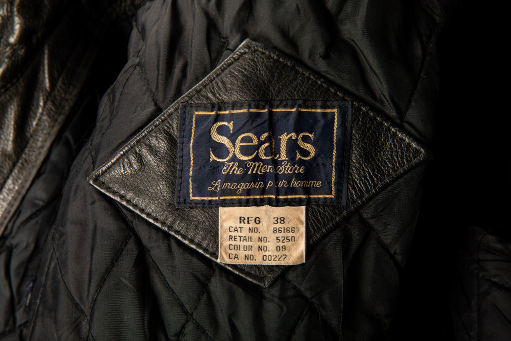 1980's Quilted Leather Cafe Racer Jacket by Sears