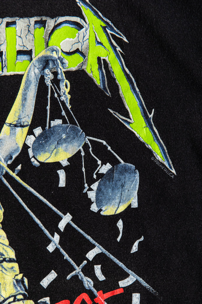 1988 METALLICA JUSTICE FOR ALL '' HAMMER OF JUSTICE CRUSHES YOU'' T-SHIRT