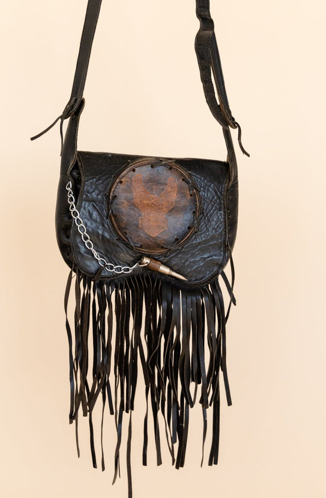 1980's Harley-Davidson Fringe Leather Tooled Bag with Bullet chain