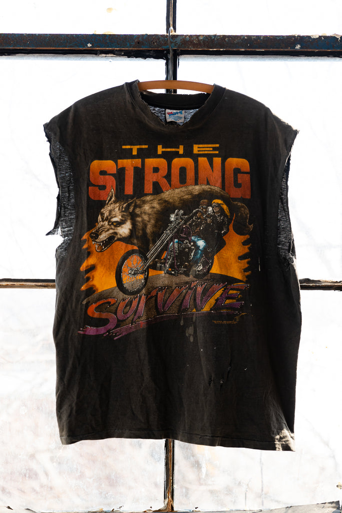 "90's, Vintage, Easy Riders , ""The Strong Survive"", Myrtle Beach, Bike Week, Dunes Cycles, Single Stitch, Sleeveless T-Shirt"