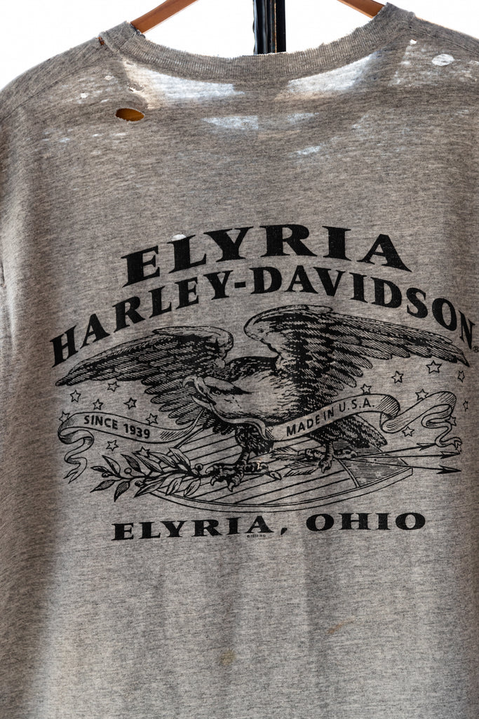 1990's, Vintage, Paper Thin & Worn out Harley-Davidson, Eagle, Elyria, Ohio, Front Pocket, Sleeveless Shirt, (Men's Large)
