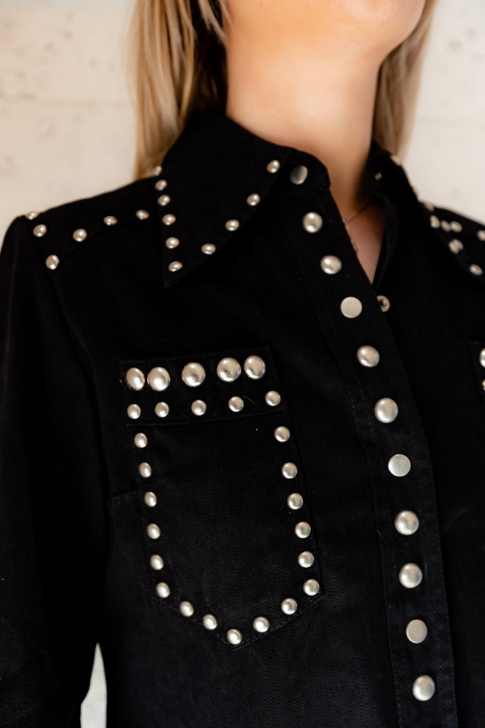 1970's Black, Studded, Western, Button Up Shirt