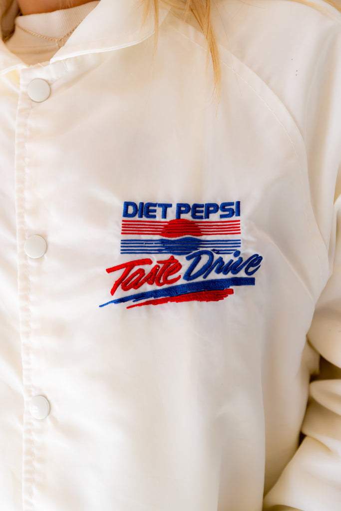 1980's Vintage, Diet Pepsi, White, WINDBREAKER, Jacket (men's small)