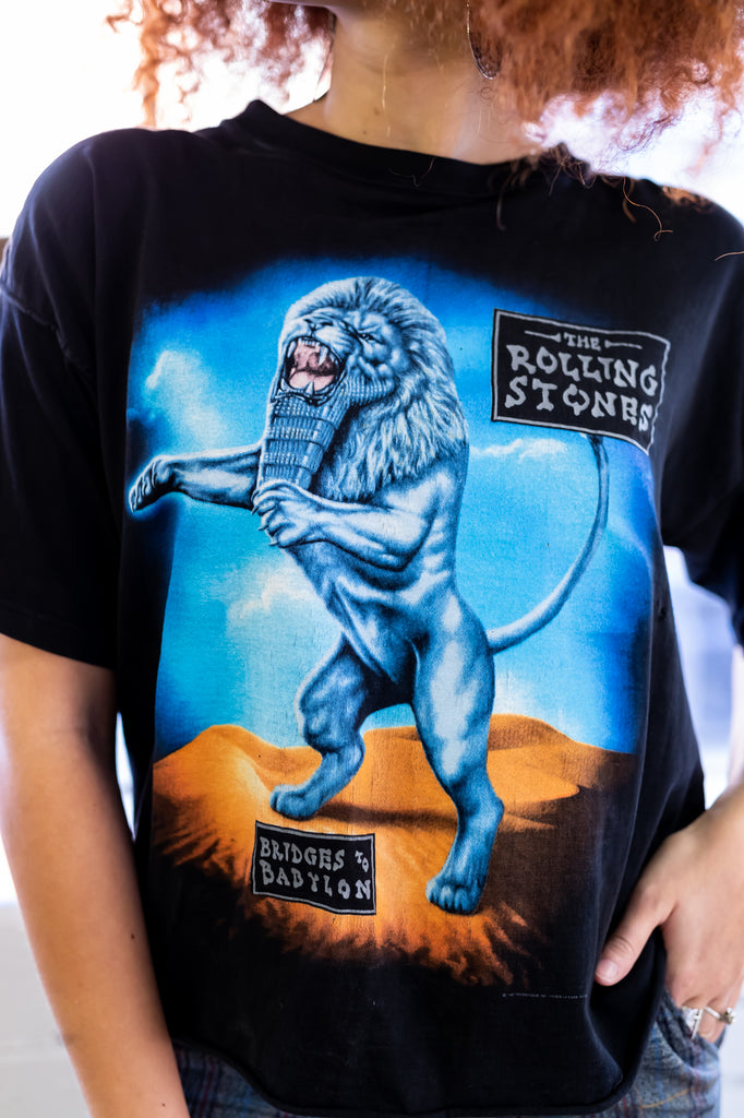 90's, Vintage THE ROLLING STONES ''Bridges to Babylon World Tour'' Cropped Tee