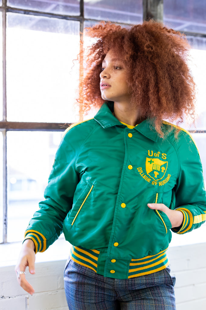 60's- 70's, Vintage, University Of Saskatchewan, College of Nursing, Varsity, Bomber, Puffer, Jacket (women's Medium)