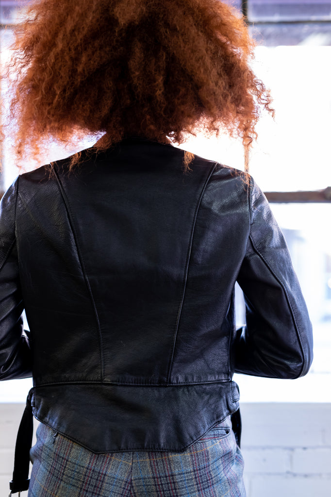 70's, Vintage, Black Leather Jacket, Pointed Collar, Motorcycle, Asymmetrical, Moto, Mussidan, French, (Women's 38 or Medium)