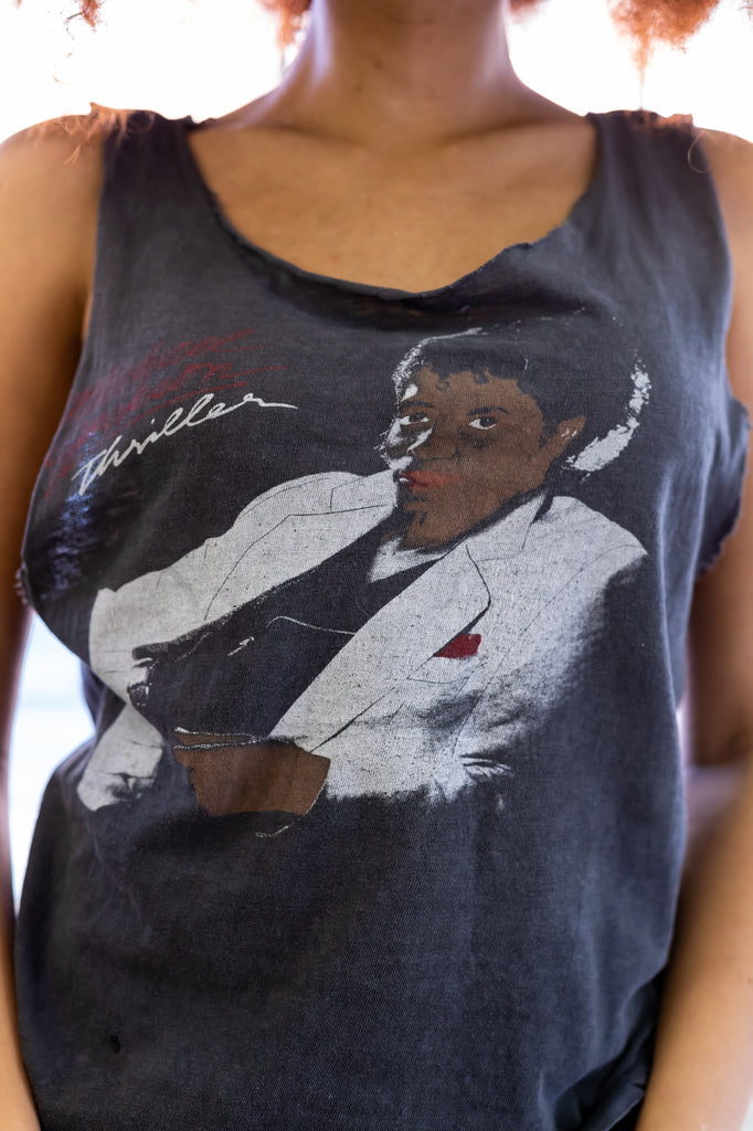 1980's,Vintage, Very Rare: Michael Jackson, Thriller, PAPER THIN, Sleeveless Shirt (one size or Men's Small)