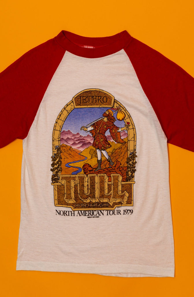VINTAGE DEAD STOCK : 1979 Jethro Tull, On Road Again North American tour, Raglan Shirt (men's Small)
