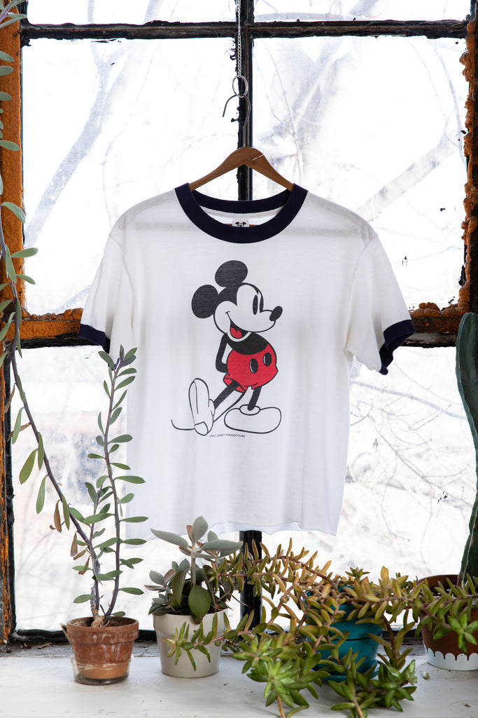 1970's RARE, Vintage, Mickey Mouse Walt Disney Productions, Ringer, T-Shirt (Women's Medium)