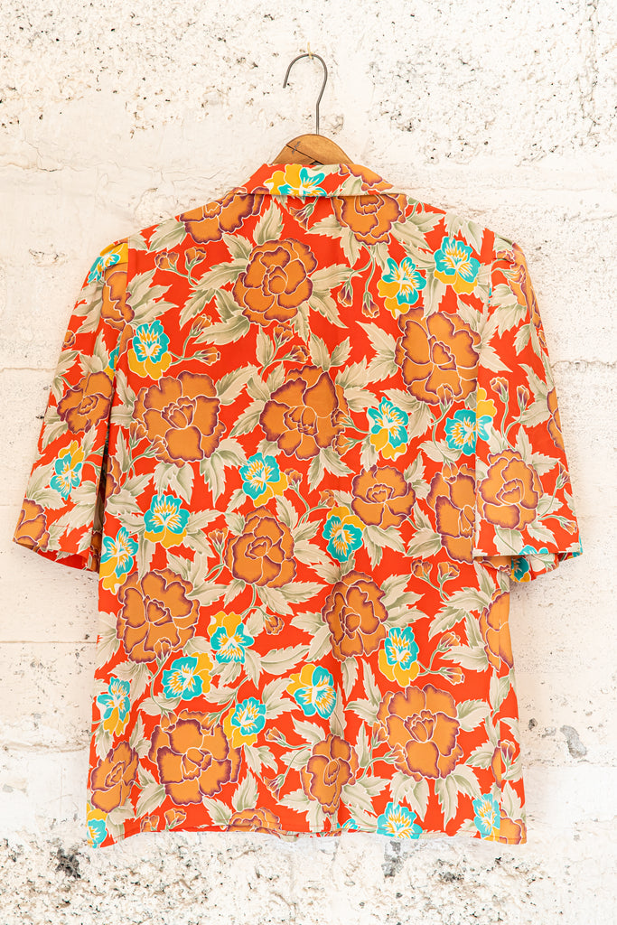 1970's, Vintage, Multicolour Floral Print Button Up Shirt, (women's Large)
