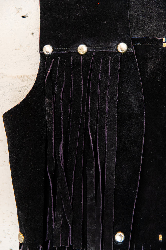 Hand picked curated best Vintage from the 1970s, Black, suede, Studded, Fringed, western/rock n roll/ boho/ hippie, Vest